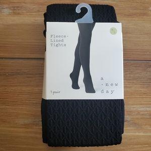 Women's Fleece Lined Tights Ebony Textured M/L
